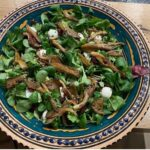 Oyster mushrooms and roasted hemp seeds salad