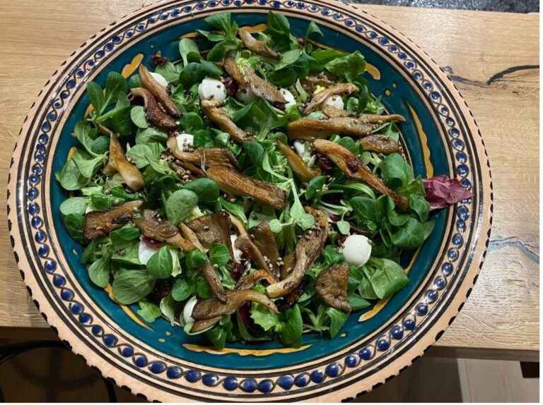 Oyster mushrooms and roasted hemp seeds salad
