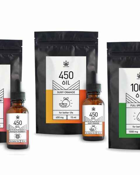 Zestaw 3x olej konopny CBD: pomarańczowy 3% 15ml + malinowy 3% 15ml + smak naturalny 10% 10ml