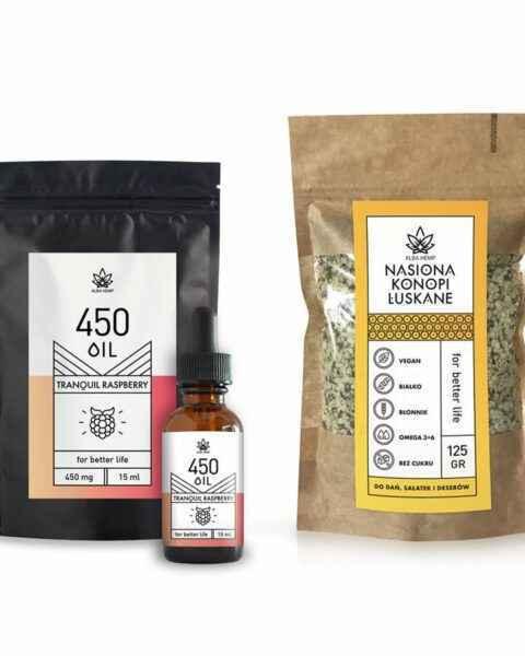 Zestaw olejek CBD malinowy 3% 15ml + łuskane nasiona konopi RASPBERRY & SEEDS POWER