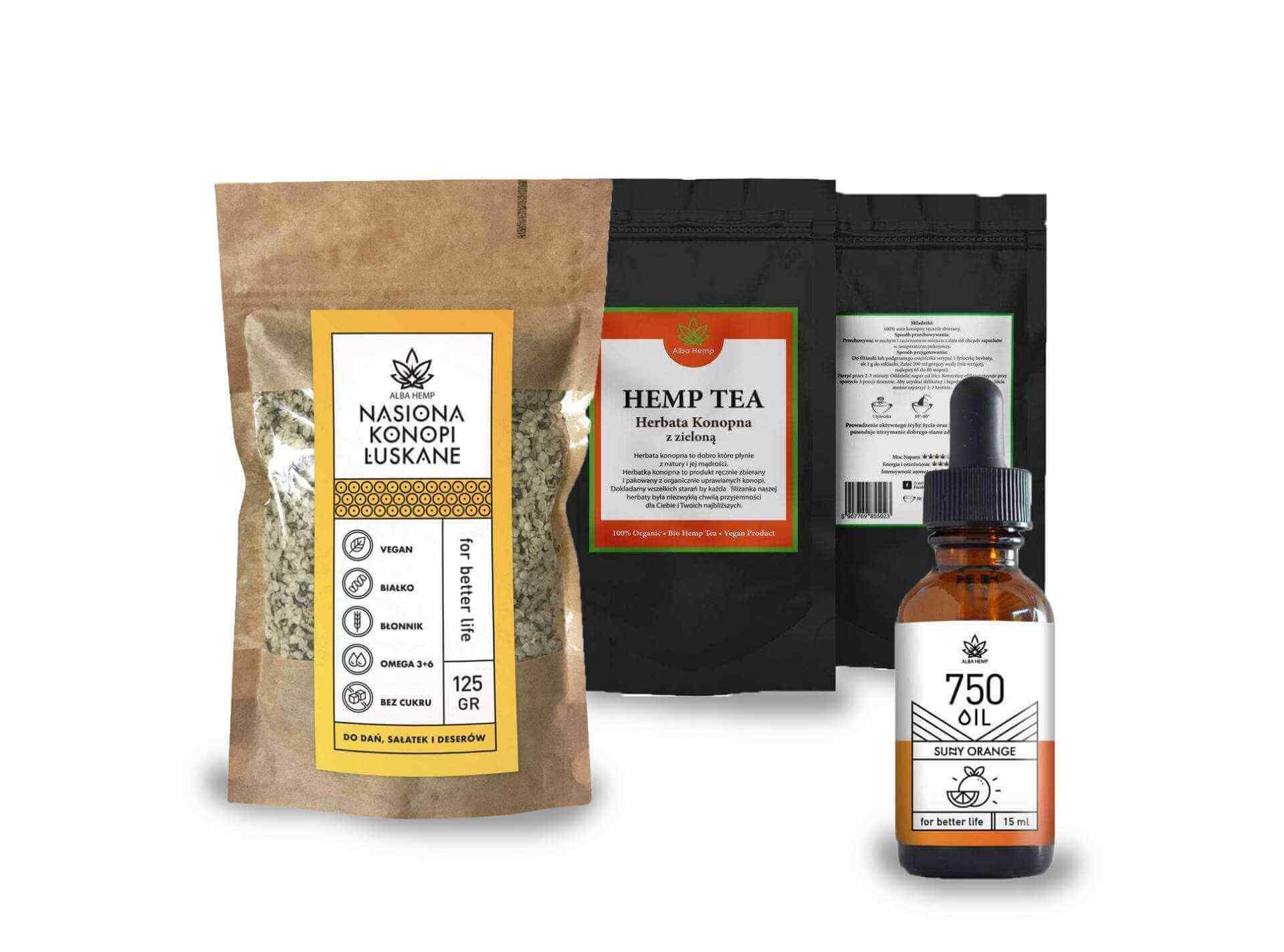 Read more about the article Zestaw prezentowy olejek konopny pomarańczowy 5% + łuskane nasiona konopi 125g + MIX herbaty konopnej i zielonej 25g