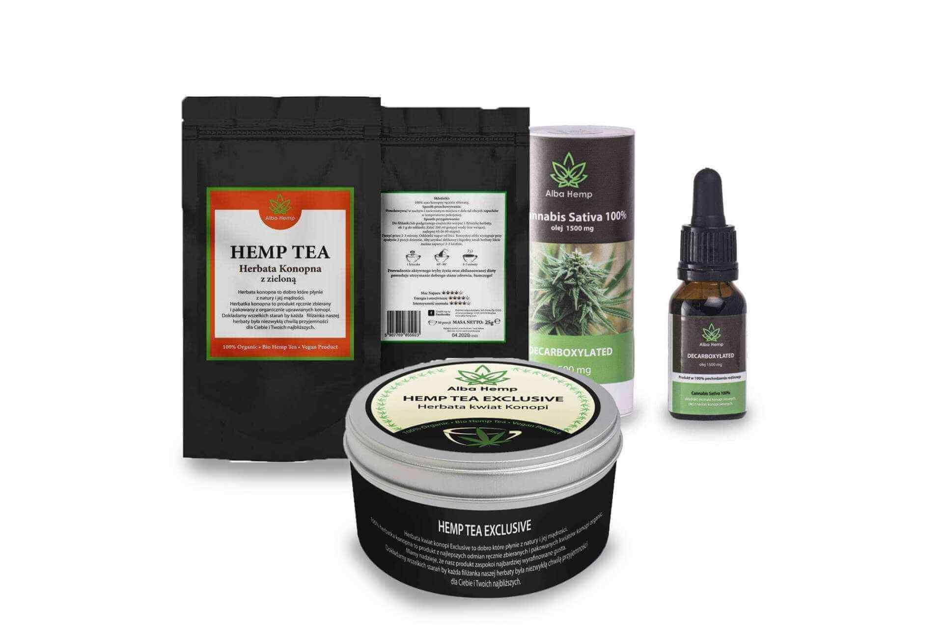 Read more about the article Zestaw prezentowy olej konopny 10% + herbata konopna 100% 20g + herbata konopna z zieloną 25g