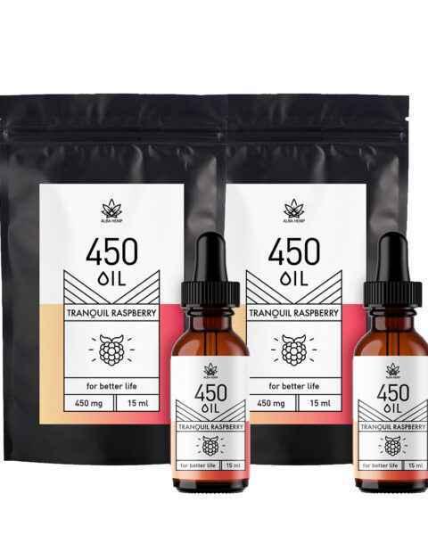 Zestaw 2x olejek konopny 3%  MALINA 450 mg / 15ml