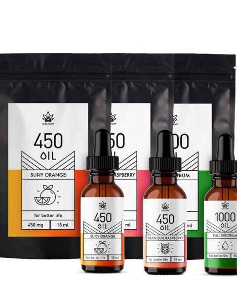 Zestaw 3x olejek konopny: pomarańczowy 3% / 15ml + malinowy 3% / 15ml + smak naturalny 10% / 10ml