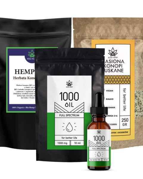 Zestaw herbata konopna 100g + olej konopny 10% / 10ml + nasiona łuskane 250g BIG POWER MIX