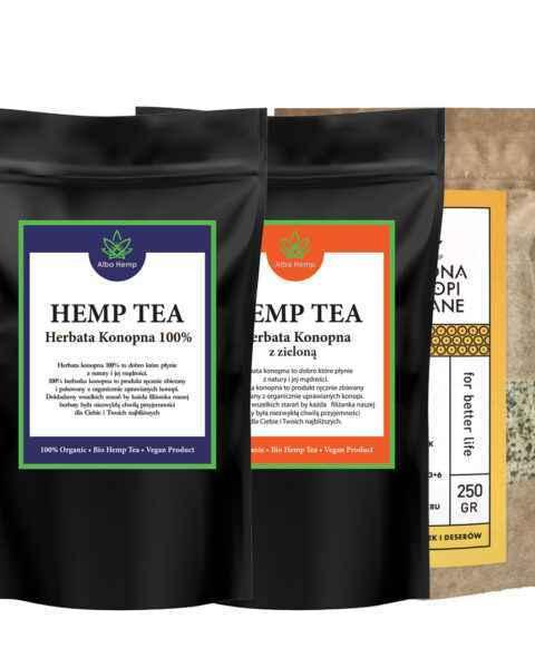 Zestaw herbata konopna 100% 100g + MIX herbaty konopnej i zielonej 100g + łuskane nasiona konopi 250g