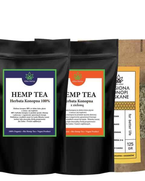 Zestaw herbata konopna 100% 25g + MIX herbaty konopnej i zielonej 25g + łuskane nasiona konopi 125g