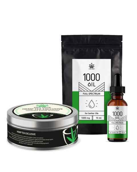 Zestaw olejek konopny 10% / 10ml + herbata konopna 100% 20g OIL & TEA EXCLUSIVE SET